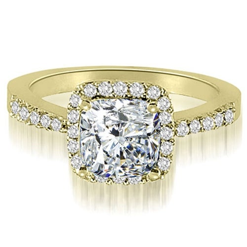 1.00 cttw. 14K Yellow Gold Cushion And Round Shape Halo Diamond Engagement Ring