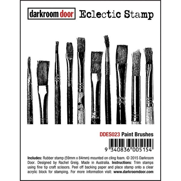 """Darkroom Door Cling Stamp 3""""X2""""-Paint Brushes"""