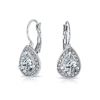 Bling Jewelry Rhodium Plated Alloy 2.25ct CZ Crystal Teardrop Leverback Earrings