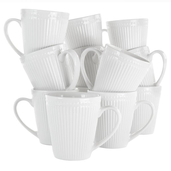 Elama Madeline 12 Piece Porcelain Mug Set in White. Opens flyout.