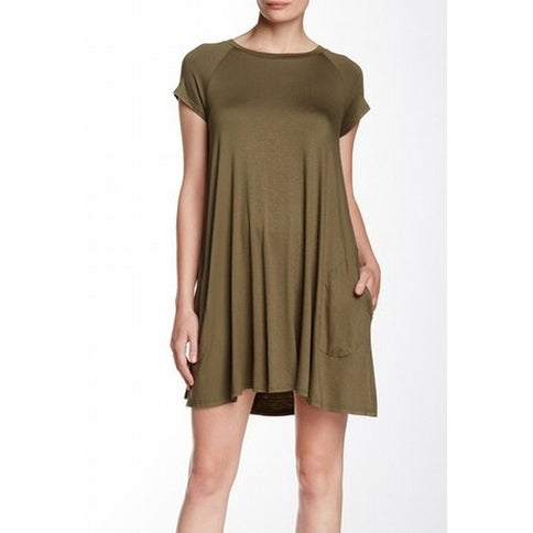 3aa175a2adf92 Soprano NEW Olive Green Women Size Large L Flare Two Pocket Sheath Dress