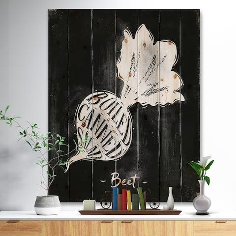 Designart 'Beet cutting scheme chalk' Farmhouse Food Print on Natural Pine Wood - Black