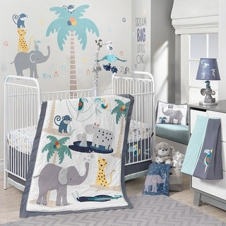Lambs & Ivy Animal Crackers White/Gray Jungle Safari Animals Nursery 6-Piece Baby Crib Bedding Set