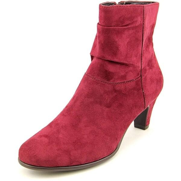 Aerosoles Red Light Women Round Toe Canvas Burgundy Ankle Boot