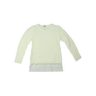 Poof Girl Girls Pullover Sweater Lace Trim - S