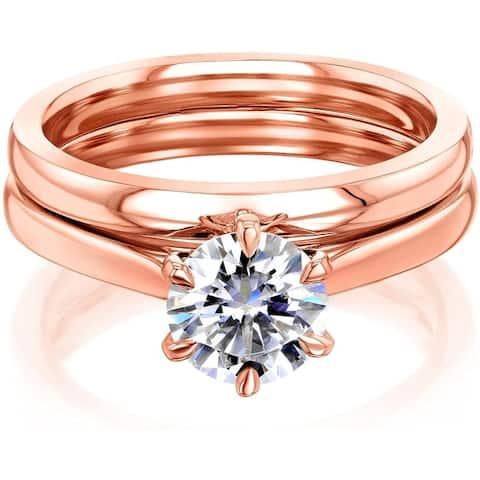 Annello by Kobelli 14k Gold Moissanite 6-Prong Solitaire Bridal Set (HI/VS)