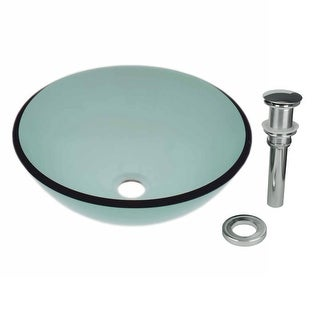 Tempered Glass Vessel Sink with Drain, Green Single Layer Bowl Sink