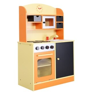 Costway Wood Kitchen Toy Kids Cooking Pretend Play Set Toddler Wooden Playset