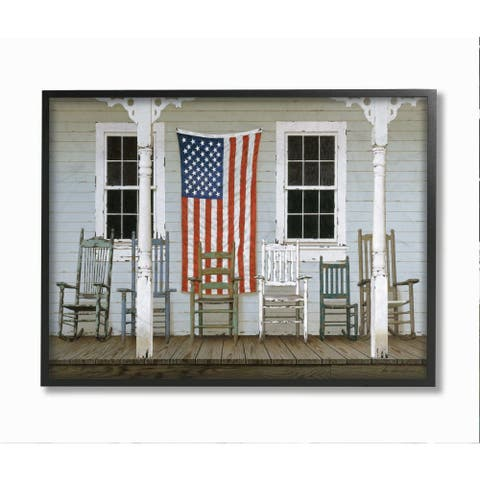 Stupell Industries Distressed Rocking Chair Porch Americana Realistic Painting Framed Wall Art - Multi-Color