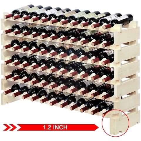SUNCROWN 66 Bottle Capacity Wine Storage Stand Wooden Wine Holder