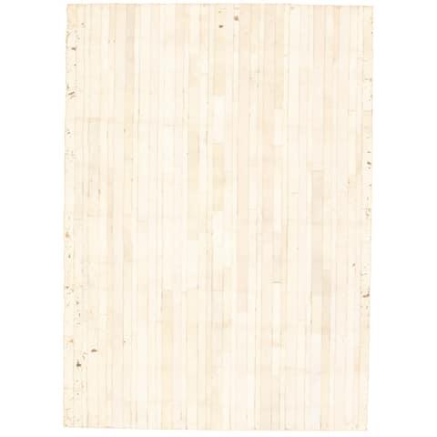 ECARPETGALLERY Handmade Cowhide Patchwork Ivory Leather Rug - 4'8 x 6'6