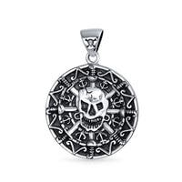 Bling Jewelry Pirates Aztec Medallion Skull Pendant .925 Sterling Silver