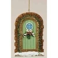 "Christmas Garden ""Warmth and Joy"" Snowy Door Ornament with Pine Cone Swag"