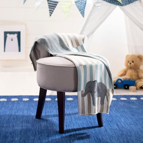 """SAFAVIEH Baby Collection Harlo Throw - Beige / Teal - 32"""" x 40"""" - 32"""" x 40"""""""