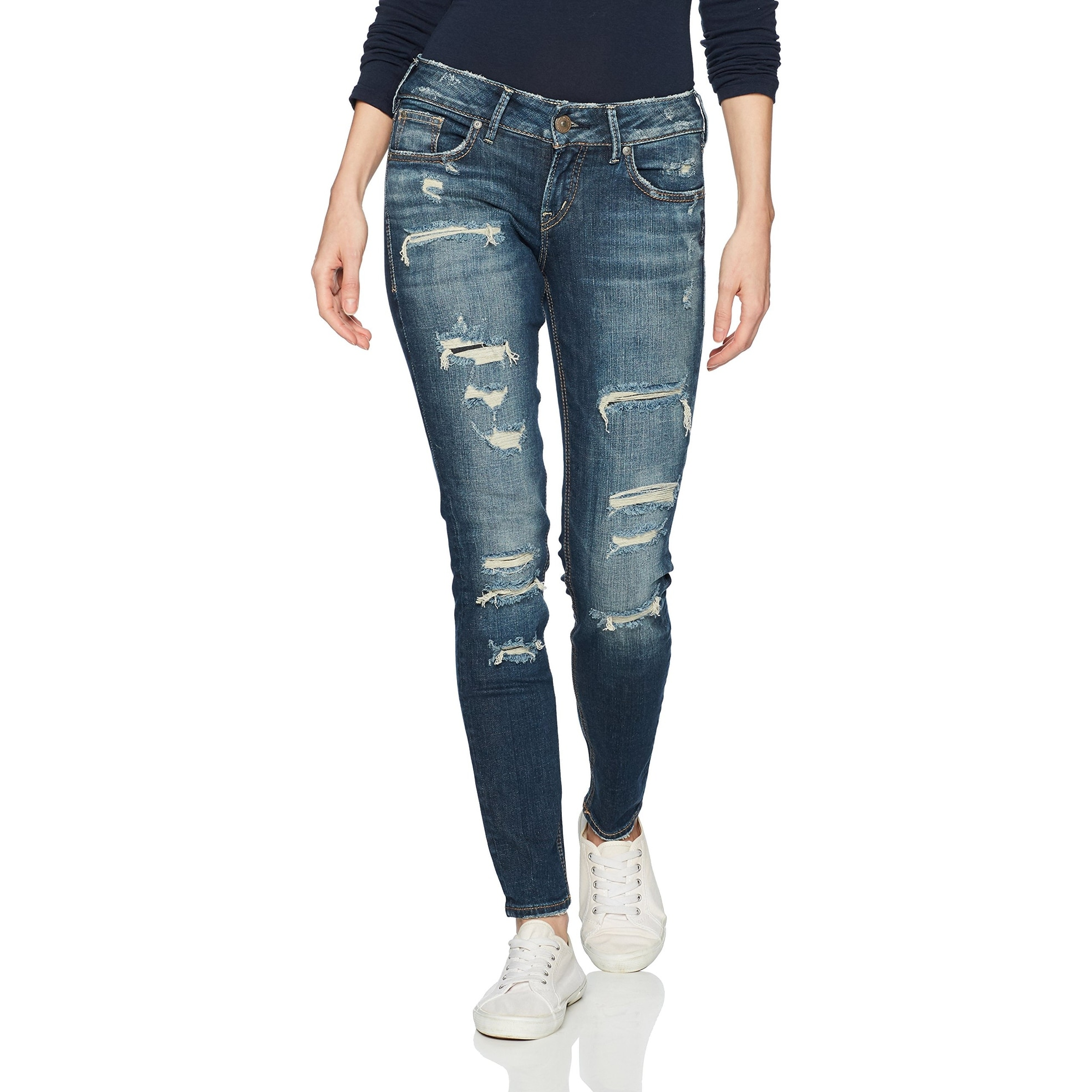 Silver Jeans Womens Suki Curvy Fit Mid-Rise Super Skinny Jeans