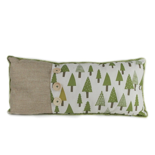 """20"""" Forest Green Tree Print Rustic Woodland Decorative Christmas Throw Pillow"""