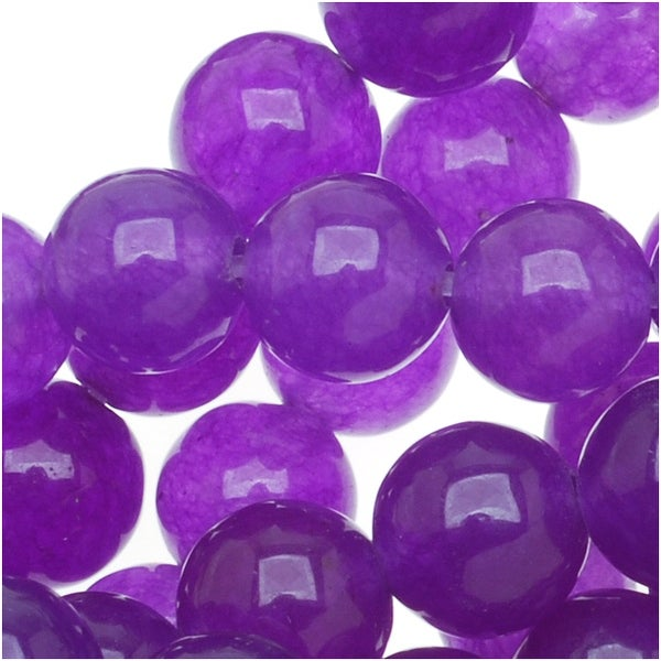 Dark Magenta Candy Jade 6mm Round Beads (15.5 Inch Strand)