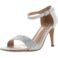 Blossom Casio-12 Women's Single Sole Shimmer And Rhinestone Mid Heel Dress Sandal