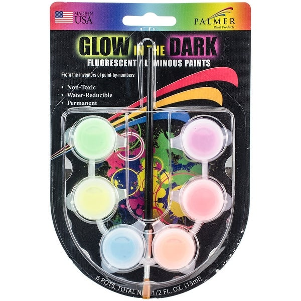 Glow-In-The-Dark Paint Pots .5oz-Assorted Colors