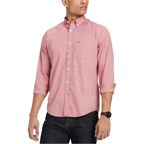 Tommy Hilfiger Mens Capote Button Up Shirt, Pink, X-Small