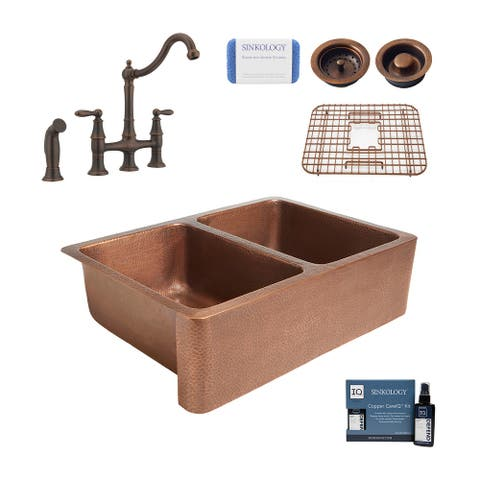 """Rockwell 33"""" Farmhouse Copper Kitchen Sink with Bridge Faucet and Drains"""