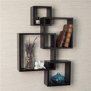 DanyaB BR1023ES Decorative Intersecting Cubes Shelf - Espresso