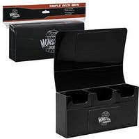 Deck Box- Magnetic Triple Deck Box (Black) by Monster Protectors