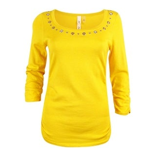 NY Collection Women's Grommet Trim Ruched Sweater - Yellow - xs