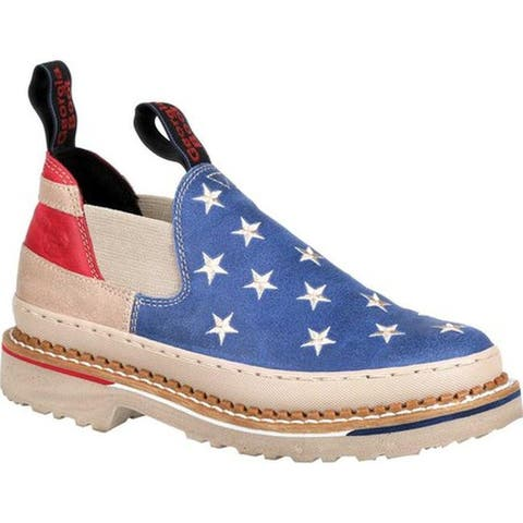 "Georgia Boot Women's GB00196 3"" Giant Patriotic Romeo Shoe Navy/Red/White Full Grain Leather"