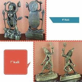 "Hindu Goddess Kali Statue Figurine Sculpture Antique Brass Finish Home Decor in 2 sizes: 8"" High and 7"" High"