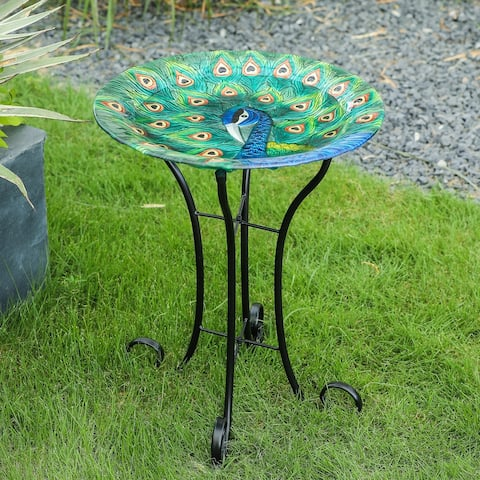 Peacock Glass Bird Bath with Metal Stand
