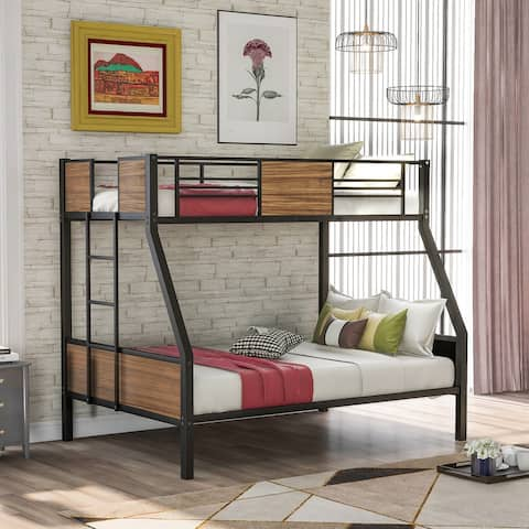 Twin-over-full Modern Style Steel Frame Bunk Bed with Safety Rail