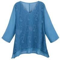 Catalog Classics Paisley Embroidered Tunic Top - V-Neck 3/4 Sleeve Blouse Shirt
