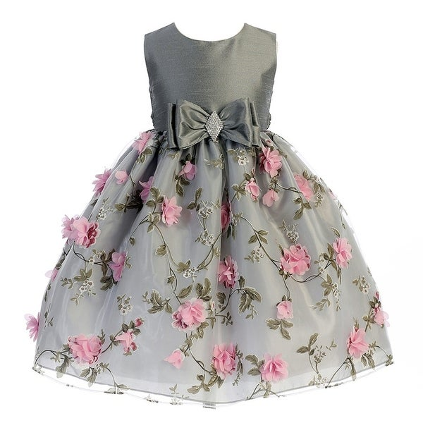 dfe84eedc53d Shop Crayon Kids Little Girls Silver Pink Flower Brooch Bow Christmas Dress  2T - Free Shipping Today - Overstock - 18164307
