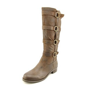 Two Lips Jaguar Round Toe Leather Knee High Boot