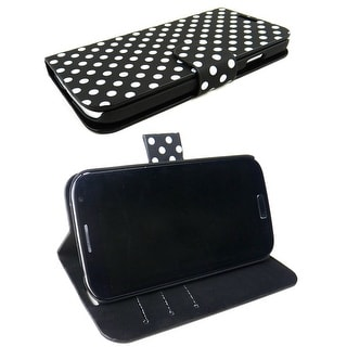 JAVOedge Polka Dot Wallet Case for the Samsung Galaxy S4 - Black