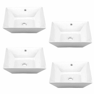 4 Square White Vessel Sink Grade A Vitreous China No Overflow