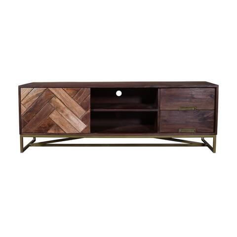 63 Inches 2 Drawer Mango Wood TV media Cabinet with Herringbone Inlaid Door Storage, Brown