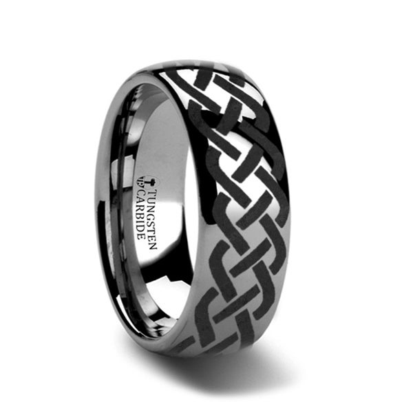 THORSTEN - ADDISON Domed Tungsten Ring with Celtic Knot Design