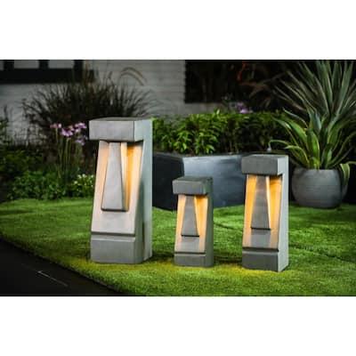 Cement Easter Island Tiki LED Solar Bollard Light