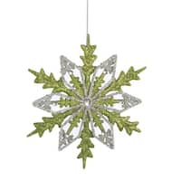 "6"" Good Tidings Silver and Green Glitter Drenched Snowflake Christmas Ornament"