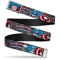Marvel Comics Captain America Face Close Up Fcg Chrome Captain America Web Belt