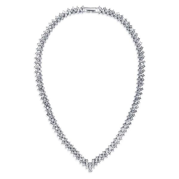 Choker Rhinestone Bracelet Silver-Tone Cubic Zirconia Tennis Wedding Bridal Bracelets Birthday Gift J0017-CRB79-SRWH