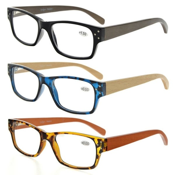 Eyekepper 3-Pack Spring Hinges Wood Arms Reading Glasses Men Women +3.0