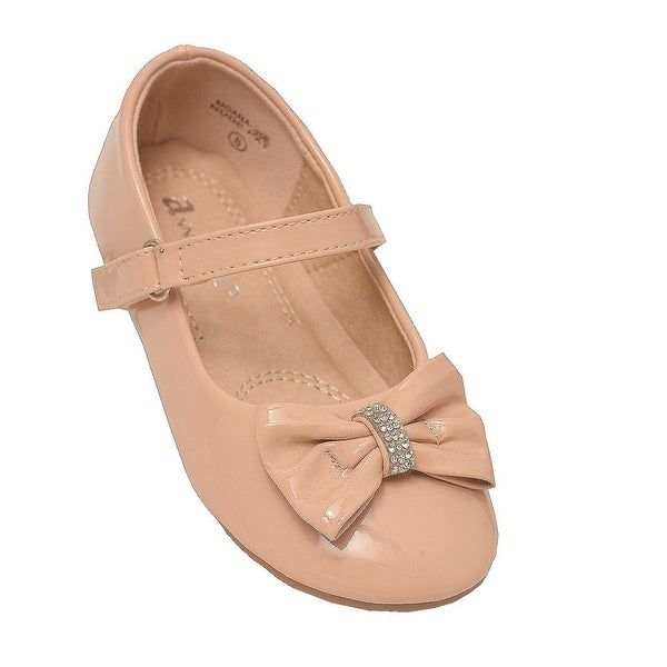 19ae548a3 Shop Anne Marie Little Girls Nude Rhinestone Bow Mary Jane Shoes - Free  Shipping On Orders Over $45 - Overstock - 28294356