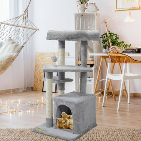 """33"""" Cat Activity Tree with Extra Scratching Board & Posts with Ball"""