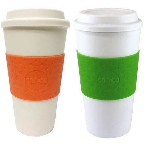 Copco Acadia Travel Mug BPA Free Double Insulated 16 Oz 2 PACK Orange Kiwi Green