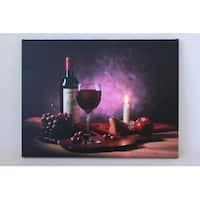 """LED Lighted Flickering Wine  Fruit and Candle Canvas Wall Art 11.75"""" x 15.75"""""""
