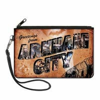 Greetings From Arkham City Postcard Tans City Scenes Canvas Zipper Wallet
