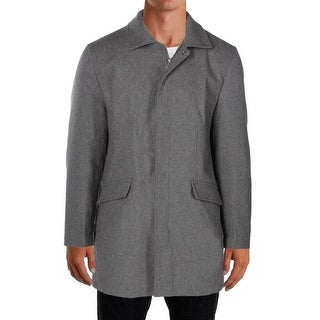 Perry Ellis NEW Gray Mens Size Large L Full-Zip Trench Wool Coat